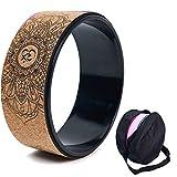 haxTON Cork Yoga Wheel, Natural and Comfortable Pilates Dharma Props to Improve Flexibility, Set Assembly Bag (A)